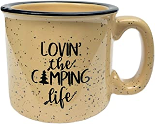 Lovin' The Camping Life Ceramic Campfire Coffee Mug - Campfire Gift Mug For Happy Camper - Outdoor Backpacking Mountain Camper Mugs Lovers - Cool Gifts for Friends, Moms, Christmas And Holiday Gift!