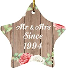 27th Anniversary Mr & Mrs Since 1994 - Star Wood Ornament B Christmas Tree Hanging Decor - for Wife Husband Wo-Men Her Him...