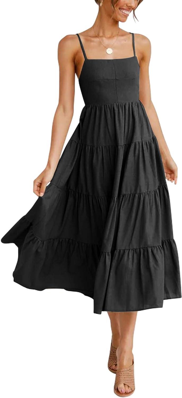 2021 Boho Spaghetti Square Neck Backless 4 Tiered Flowy Maxi Midi Cami Babydoll Dress with Adjustable Strap Drawstring Plus