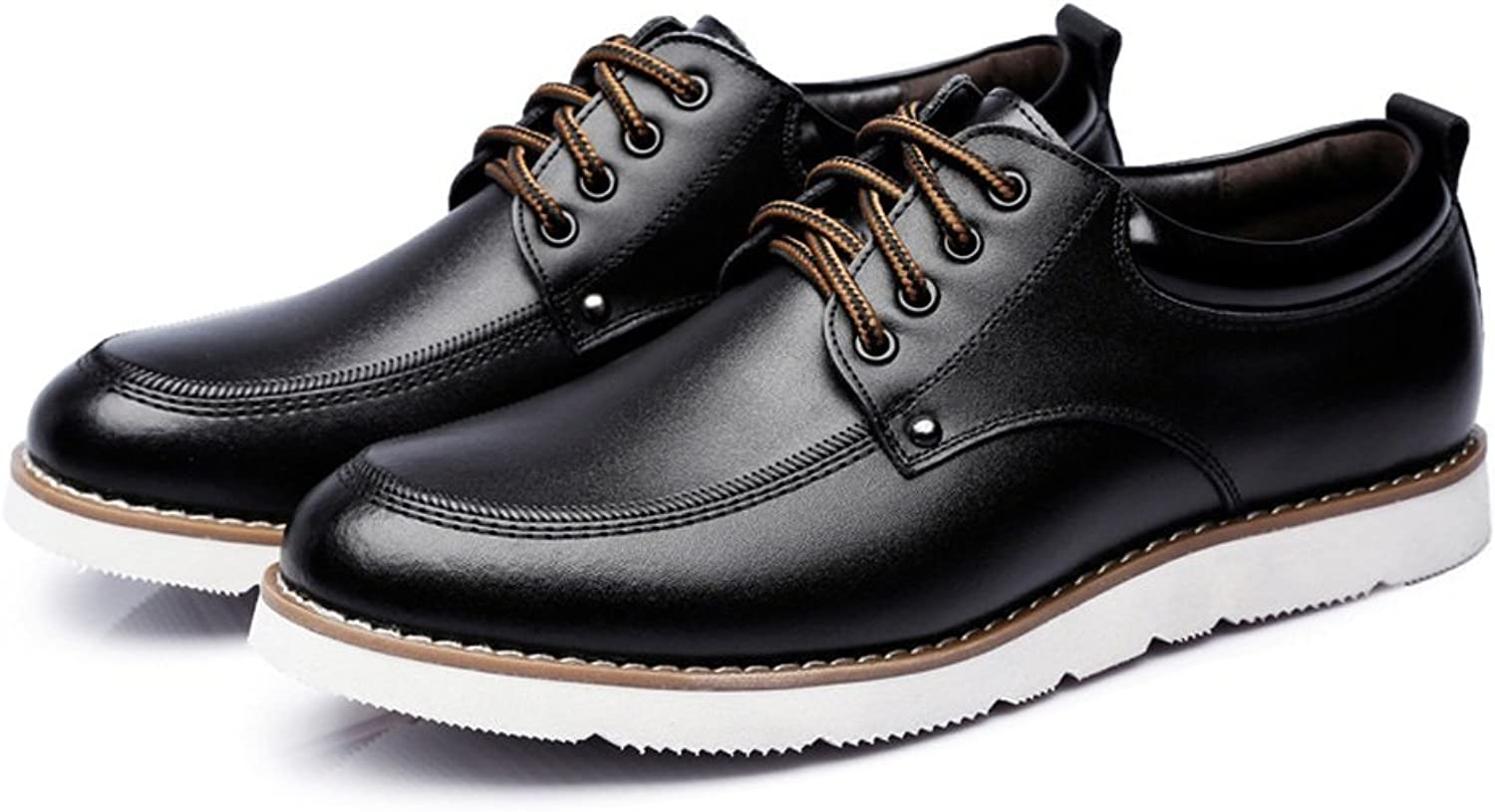 DuoShengZhTG Men's Casual shoes Lace Up Loafers PU Leather Soft Flats Sole Oxfords Business shoes