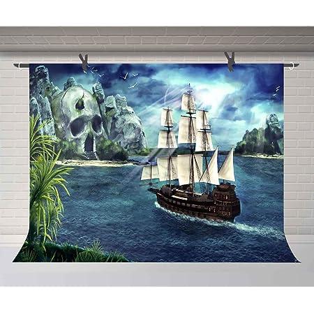 6x6FT Vinyl Photo Backdrops,Shipwreck,Malaysian Fantasy Sky Background Newborn Birthday Party Banner Photo Shoot Booth