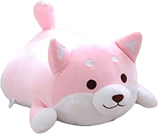 Shiba Inu Dog Plush Pillow, Cute Corgi Akita Stuffed Animals Doll Toy Gifts for Valentine's Gift, Christmas,Sofa Chair, Pink Round Eye, 22.8