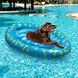 PUPTECK Dog Pool Float - Swimming Pool Toy Inflatable Ride-ons Pet Floating Raft with Cute Paw and Bone Design for Outdoor Water Game - Large, Blue