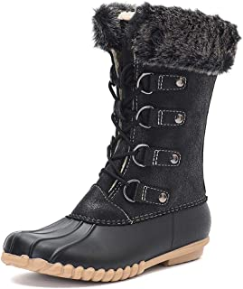 Women's Winter Duck Boots with Warm Fur Waterproof Rain Boots