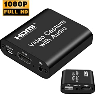 DIGITNOW Audio Video HDMI Capture Card with Loop Out, USB 2.0 4K HD 1080P 60FPS HDMI Video Game Capture Card for Live Streaming for PS3/ PS4 /Xbox One/DSLR/Camcorders/Action Cam
