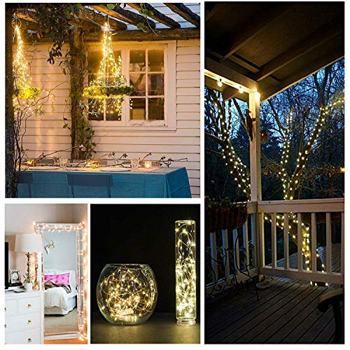 Solarize  100/200/300 LED Copper Wire Solar Rice String Light , Wrap Around Trees, Plants, Mirrors Home & Garden Decoration (200 LED Copper Wire Solar, White)