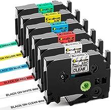 Greateam 9mm 0.35 Inch Label Tape Compatible for Brother P-Touch TZ TZe Label Maker Tape TZe121 TZe221 TZe421 TZe521 TZe621 TZe721 (6 Pack Combo Set),Use for Brother Labelers PT-D210,
