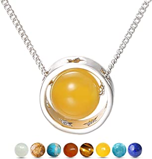 Zealmer Women White Gold Plated Planet Pendant Necklace