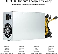 Power Supply, KKmoon 1800W Switching Server Power Supply 90% High Efficiency Professional Mining Machine Power Source for Ethereum S9 S7 L3 Rig Mining 180-260V
