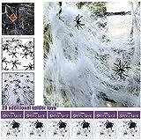 JuguHoovi Halloween Deko,Halloween Spinnennetz,Halloween Deko Garten Horror Grusel Deko Set Halloween Spinne Outdoor Indoor Spinnennetz 120g mit 20 Spinne für Party Deko Dekoration - 3