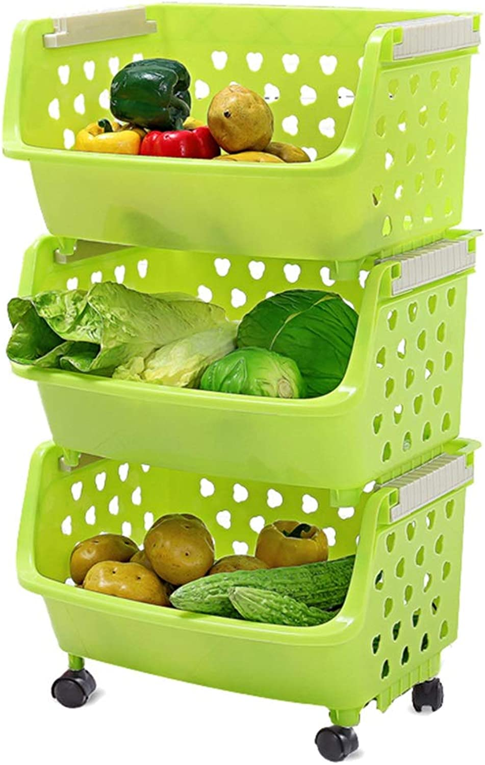 LXLA - Plastic Storage Rack Utility Carts with Wheels, Suitable for Kitchen Bathroom Bedroom Living Room (color   Green, Size   3-Tier)