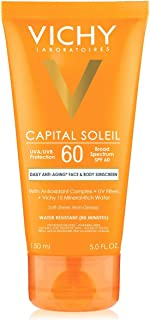 Vichy Capital Soleil Body & Face Sunscreen Lotion, Daily Anti Aging Sunblock with Broad Spectrum SPF 60, Dermatologist Recommended, 5 Fl. Oz.