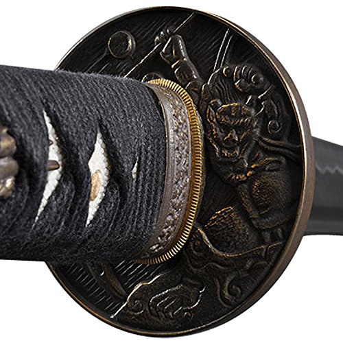 Handmade Sword - Samurai Sword Katana, Functional, Hand Forged, 1045 Carbon Steel, Heat Tempered, Full Tang, Sharp, Bendable Blade, Black Wooden Scabbard, Sword Certificate