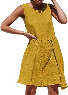 c142f676573c4 NPRADLA Sommerkleid Damen Ärmellos Mini Kleider Einfarbig Lose Weste  Plissee Kleider Für das tägliche Leben