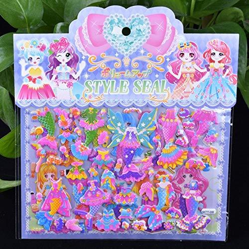 BLOUR Doble Capa Linda Sirena Princesa Vestir Etiqueta para Diario teléfono portátil Libro niños Anime Kawaii Pegatinas Juguetes para niñas DIY