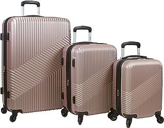 Dejuno Troy Abs 3-Piece Hardside Spinner Luggage Set-Burgundy