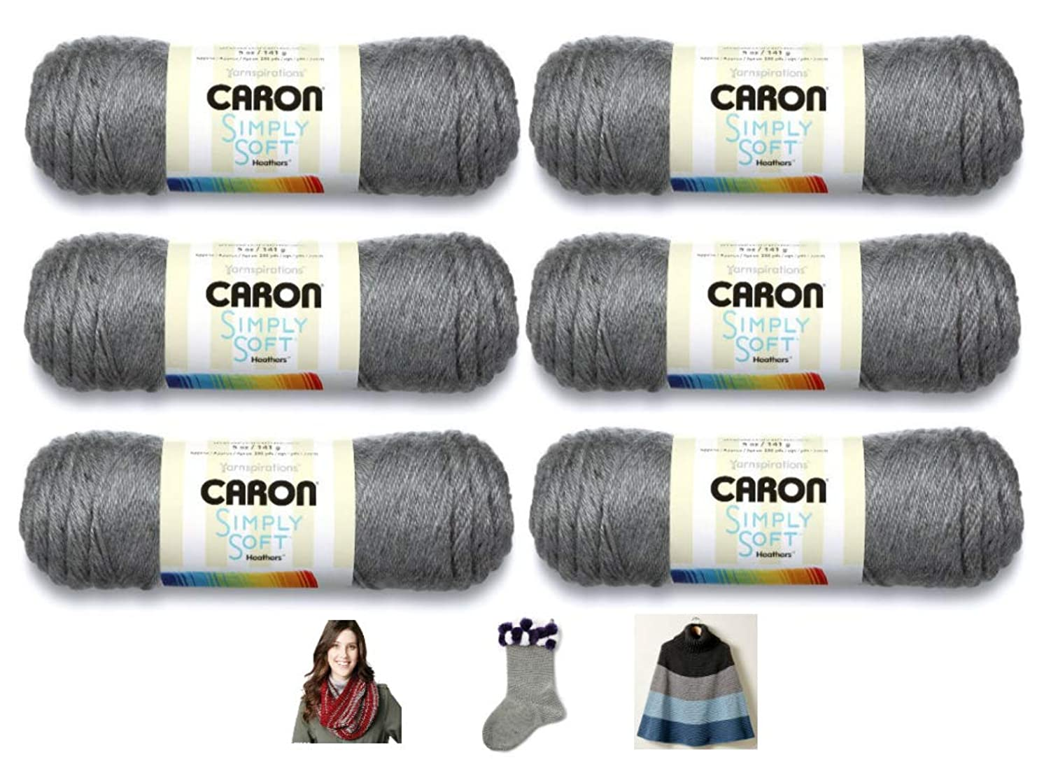 Caron Simply Soft Heathers Yarn - 6 Pack Bundle (with 3 Patterns) - Gray Heather