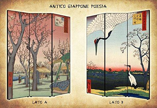 Separè Paravento bifacciale Giappone Poesia in Tela di Cotone e Legno - Alta qualità   4 Pannelli: 180,8 x 176 x 3,1 cm