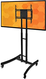 Line Leader Mobile TV Stand | Height Adjustable Rolling Television Cart with Wheels | VESA Compatible - Supports LCD & LED...