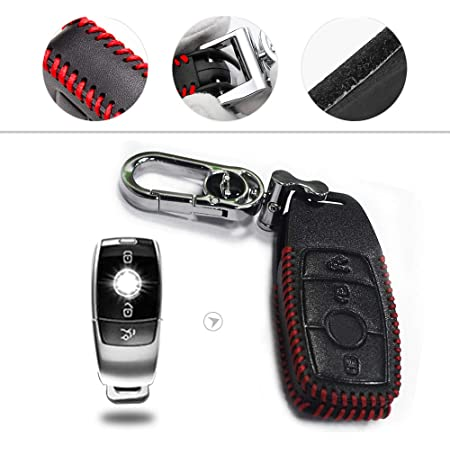 Muchkey Kfz Schlüsseletui Schlüssel Hülle Leder Auto Schlüsseltasche Mit Schlüsselanhänger Für B Enz Smart 3 Tasten Taste Rot Nähen 1 Stück Auto