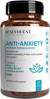 Anxiety and Stress Relief Supplement - Mood Support, Sleep Aid, Anti Anxiety Pills - GABA 5-HTP, Ashwagandha, L-Theanine, ...