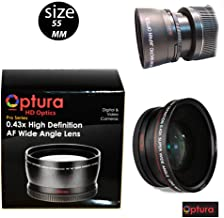 OPTURA HD Photo 55MM 0.43x Wide Angle + Macro Lens for Nikon D3400, D5600 and Sony Alpha Series A99II, A99, A77II, A77, A68, A58, A57, A65, A55, A 390, A100, A33, A900, A850, A700, A500, A330, A300