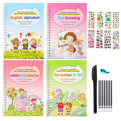 DLUCKY Magic Practice Copybook for Kids, Number Tracing Book for Preschoolers, Reusable Writing Practice Book for Age 3-6 Calligraphy Simple Hand Lettering, 4 Books with pens & Reward Stickers