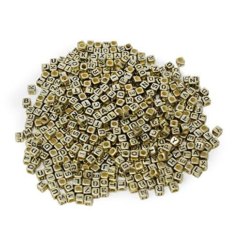 ESUMIC® Mixed 500PCS 6mm Acrylplastik Buchstabenperlen Spacer Würfel Buchstabenperlen für DIY Armband-Halsketten -Anhänger (Gold Schwarz)