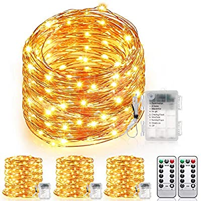 AMBOTHER 4 Pack 118ft Fairy Lights Battery Operated 2x19.69ft + 2x39.37ft 360 LEDs String Lights Waterproof 8 Modes Timer Flexible LED Fairy Lights with Remote Outdoor Indoor for Wedding Bedroom Party