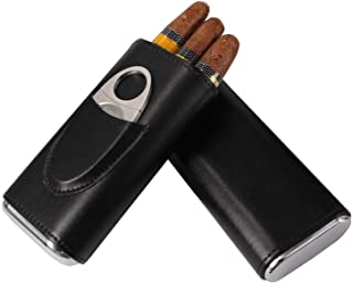 AMANCY Elegant Leather Cedar Wood Lined 3 Cigar Case with Silver Stainless Steel Cutter Set