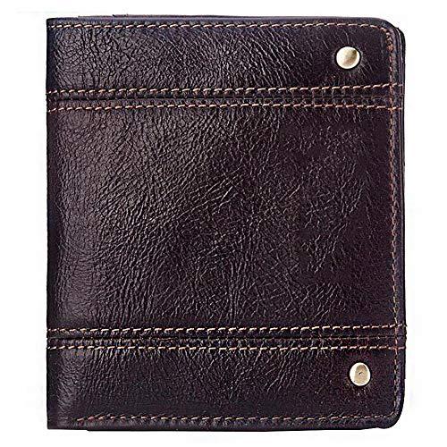 WFSH Billetera delgada con clip de dinero RFID bloqueo cartera – titular de tarjeta de crédito – Cartera de viaje – Mini cartera minimalista plegable para hombres (color: marrón, tamaño: 10,5 cm)