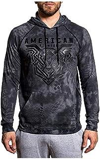 American Fighter Mens (Heather Grey) Brimley LS Raglan Hooded Shirt
