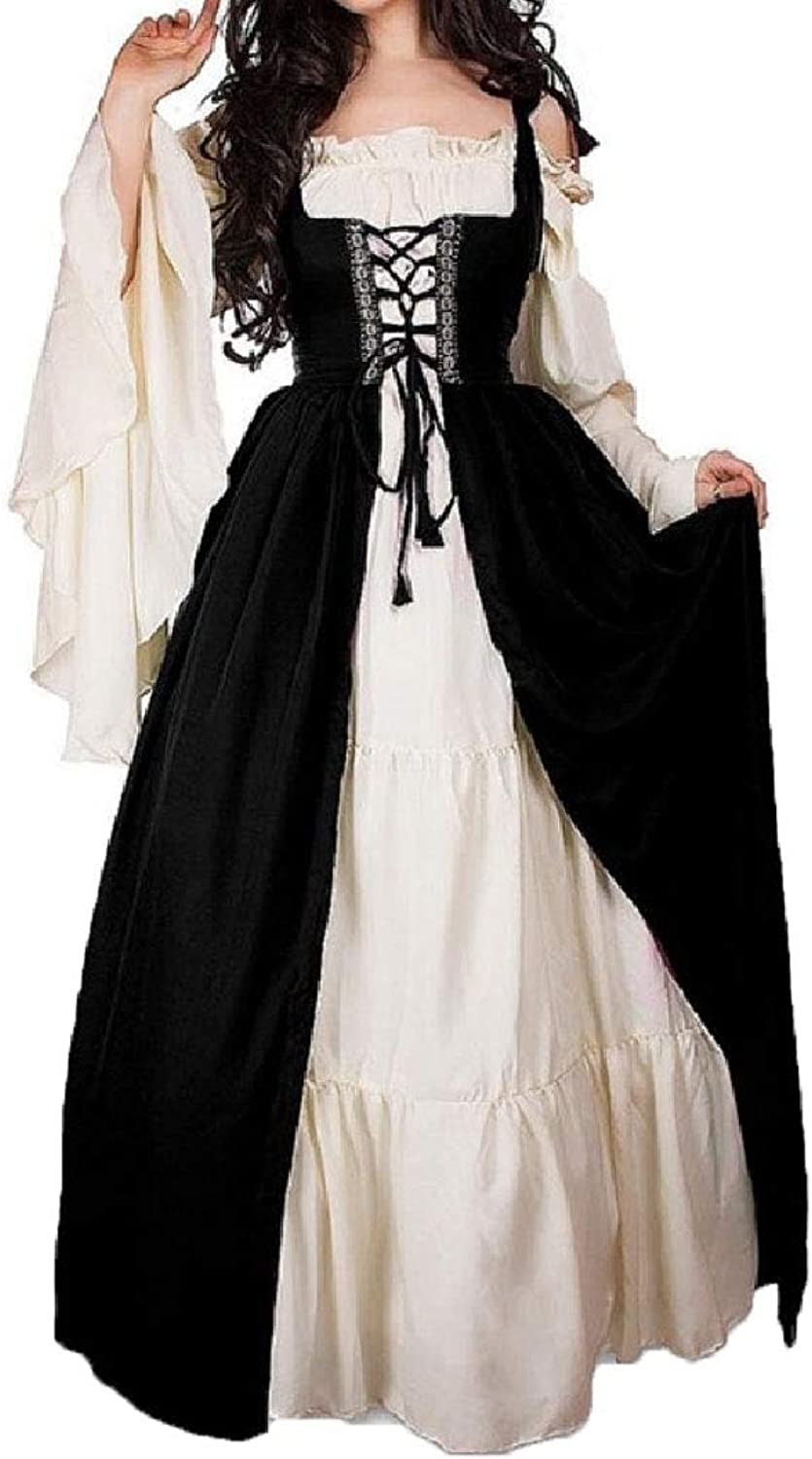 XTRENM Women Party Lace Up Maxi Dress Splicing Medieval Clothing