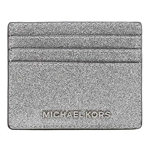 Michael Kors Jet Set Travel Large Leather Credit Card Holder (Silver Glittered)