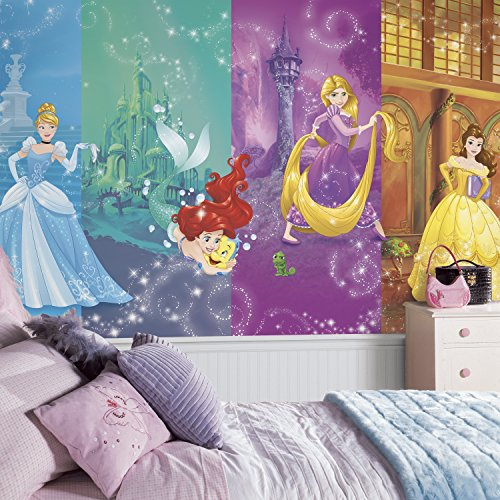 RoomMates JL1391M Disney Princess Scenes Water Activated Removable Wall Mural  105 ft x 6 ft