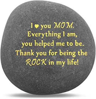 Unique Gift for Mom - Thank You for Being My Rock, Christmas Mothers Day Birthday Gifts for Mother from Daughter Son Kids, Novelty Keepsake Paperweight Pebble Stone Engraved Rock with Sentiment Words