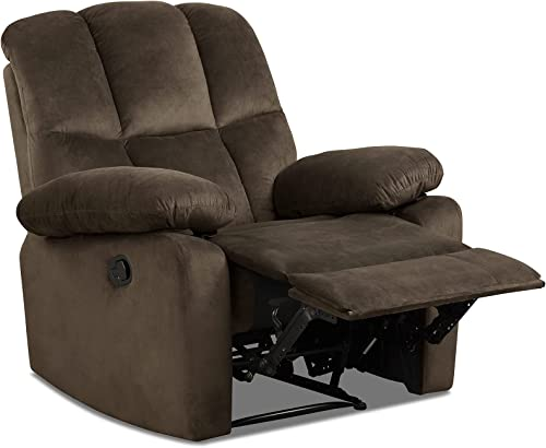 Giantex Recliner Chair, Manual Reclining Chair w/Big Armrests, Overstuffed Cushions, Single Lazy Sofa Lounger Home Theater Recliner for Living Room (Brown)