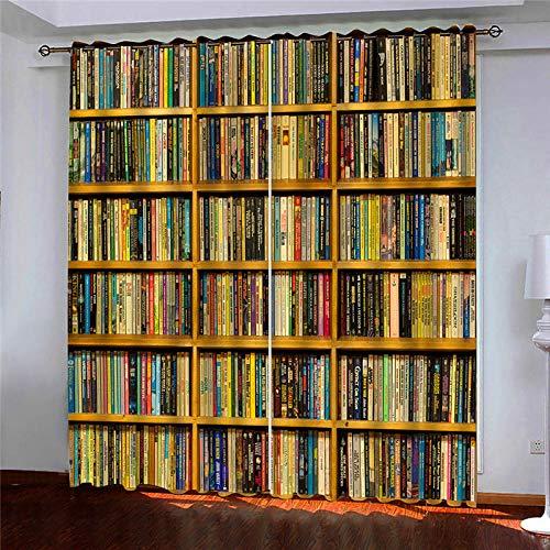 ZCFGG Gardinen Blickdicht Bibliothek Verdunklungsgardine Ösen Gardinen Vorhänge Blackout Thermisch für Wohnzimmer Schlafzimmer 2X B140 x H245 cm