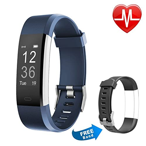 Proze Fitness Tracker Band+ HR Orologio Braccialetto con Cardiofrequenzimetro Activity Tracker Bluetooth Smartwatch Pedometro Sonno IP67 GPS Donna Uomo Bambini per iOS e Android Blu