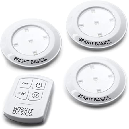 Bright Basics LED Puck Lights with Remote Wireless LED Lights Battery Operated Under Cabinet Lighting Stick On Lights (3 Pack)