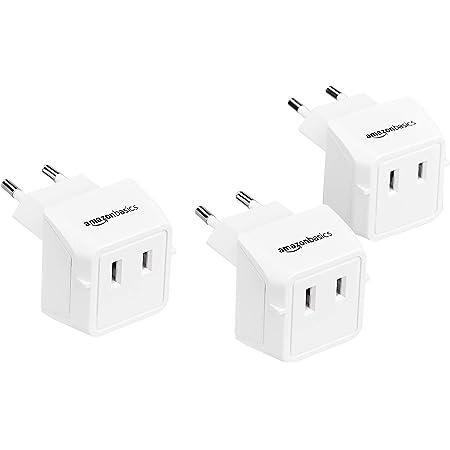 Amazon Basics 3-Pack Travel Plug Adapter Type C, Europe - Italy, Iceland, Austria and More