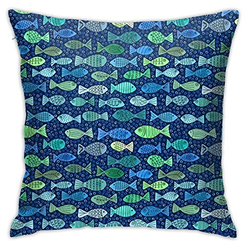Pillow Cover,One Fish Two Fish Green Fish Blue Fish Throw Pillow Case Modern Cushion Cover Square Pilloase Decoration for Sofa Bed Chair Car 18 X 18 Inch