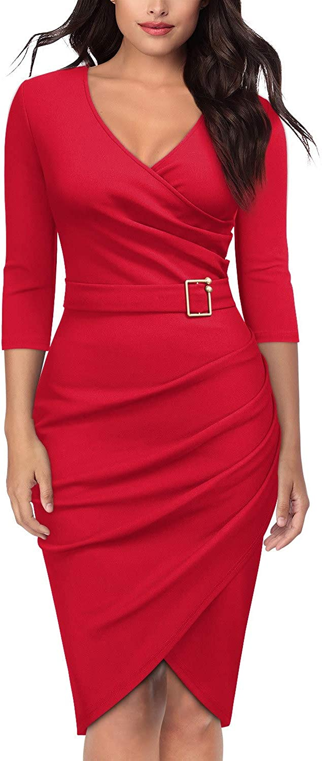 Knitee Women's Vintage V-Neck Criss Cross Ruched Evening Party Cocktail Bodycon Sheath Formal Pencil Dress