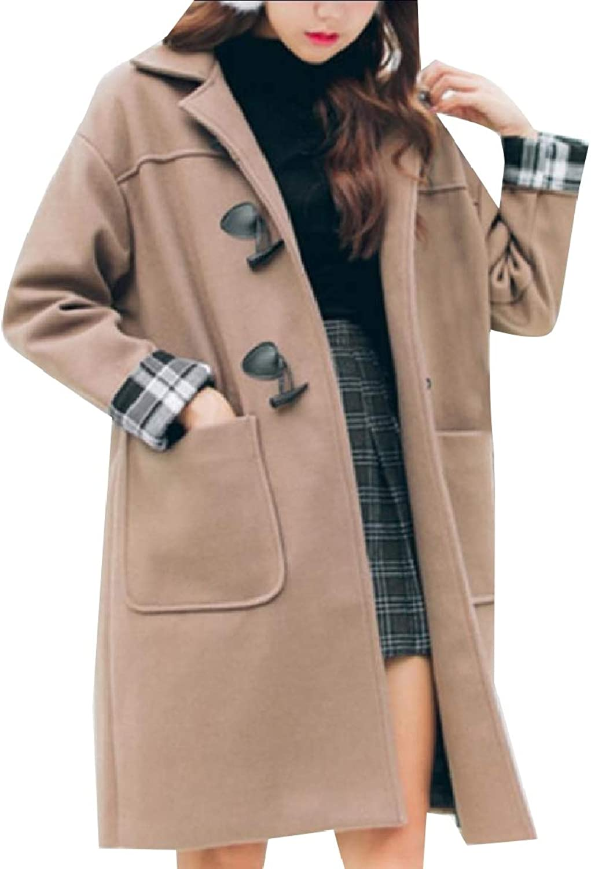 Coolhere Women Lapel Neck MidLong Fleece Warm Winter Classics Walker Coat