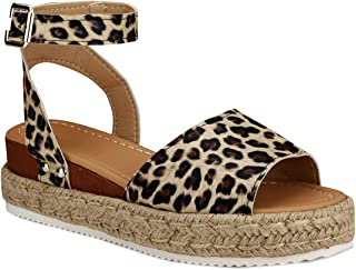 Women's Ankle Strap Open Toe Wedge Platform Sandals Summer Cork Espadrille Flatform Sandal