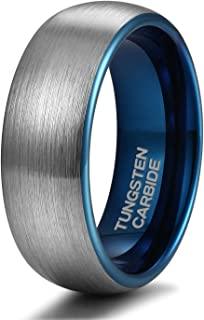 4mm 6mm 8mm Tungsten Rings for Men Women Engagement Wedding Band Blue/Silver Comfort Fit Size 4-15