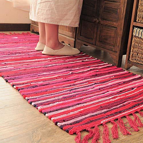Teppiche für Wohnzimmer Sofa Bereich Dekoration Mediterranen Stil Streifen Muster Quaste Dekoration Mode Design 100% Baumwolle Multi Verwendung(Rot,50x80cm)
