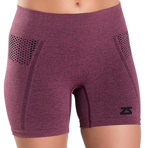 Zensah Women's Running Shorts - Compression Volleyball Shorts - Activewear Boyshorts for Working Out - Use for Run, Fitness, Yoga, Dance - Well Rounded Shorts,S,Heather Cherry