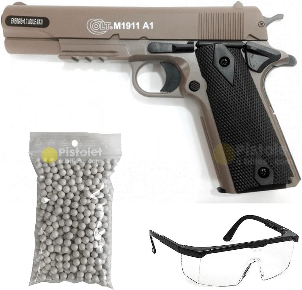 -Paquete Completo con Accesorios - Pistola para Airsoft, Modelo cybergun M1911, a Muelle/Spring, 0,5 Julios, Color Desierto, Recarga Manual