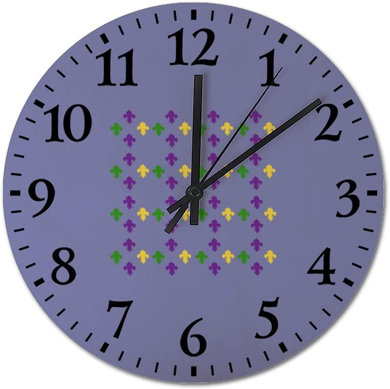 Mardi Fashionable Gras Fleur De Popular product Lis Round Clock Fashion Wood Living for Wall